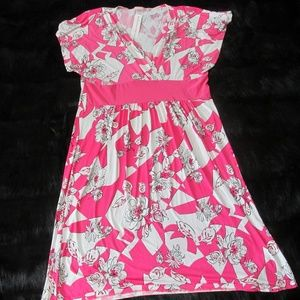 NWT Hot Pink and White Spring Dress by Sunny XL
